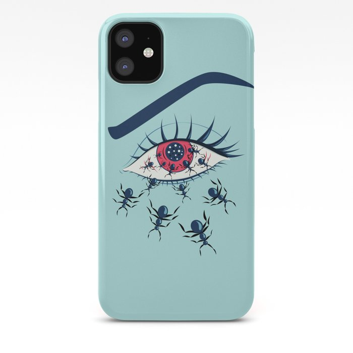 Creepy Red Eye With Ants iPhone Case