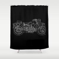 moto Shower Curtains featuring Black Moto Guzzi handmade white line by Larsson Stevensem