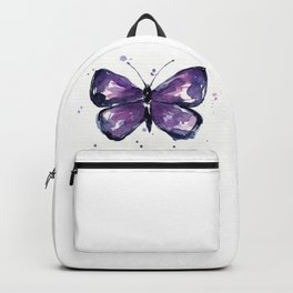 Purple Butterfly Watercolor Abstract Animal Art Backpack
