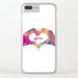 Heart Watercolor Art Print Love Hands Valentine's Day Clear iPhone Case