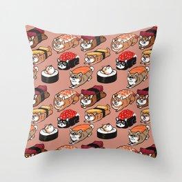 Sushi Shiba Inu Throw Pillow