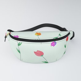 Pattern of tulips. Tulips scattered on the web Fanny Pack