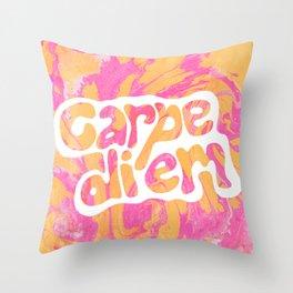 carpe diem, tie dye Throw Pillow