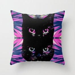 Black Cat Rising Throw Pillow