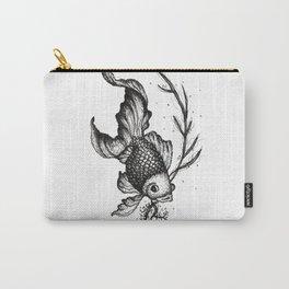 Illustration Poisson Noir - Black Fish de Lucille Bertrand Carry-All Pouch