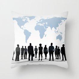 Watching the World. World Map Office Work Throw Pillow