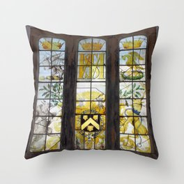 Holy Trinity Old Church, Stained Glass Window, Wentworth, Rotherham Throw Pillow