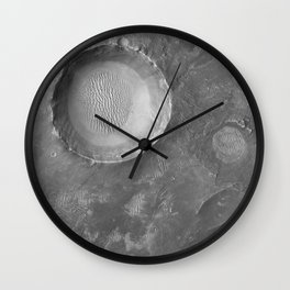 Schroeter Crater - Mars surface Telescopic Photograph Wall Clock