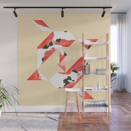 Tangram Koi - Yellow background Wall Mural