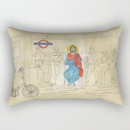 Jesus on the Tube, He is among us Rectangular Pillow