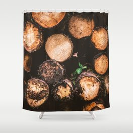 Rustic Firewood Shower Curtain