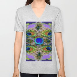 NOUVEAU BLUE-GREEN PEACOCK FEATHERS ON LILAC Unisex V-Neck