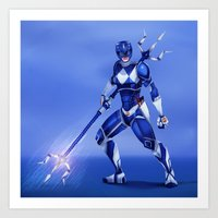 power ranger Art Prints featuring Blue Ranger by Isaiah K. Stephens