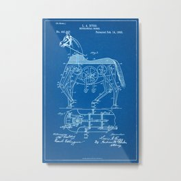 1893 Mechanical Horse Patent - Blueprint Style Metal Print