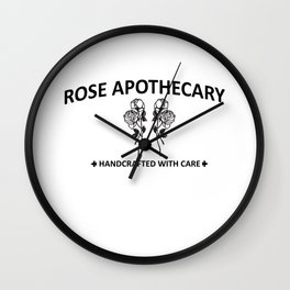 Rose Apothecary hand crafted with care Wall Clock