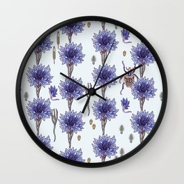 blue cornflower fields Wall Clock