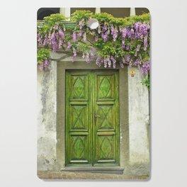 Lilacs and Green European Doorway Photograph Cutting Board
