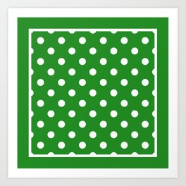 Forest Green Polka Dots Repeating Pattern Art Print