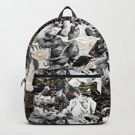 Dark abstract bloom over golden lines Backpack