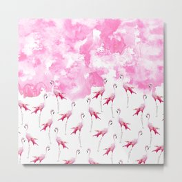 Rose pink white modern hand painted watercolor flamingo Metal Print