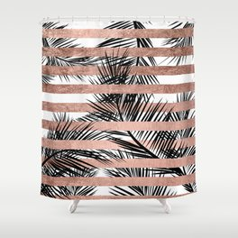 Trendy tropical palm trees chic rose gold stripes Shower Curtain