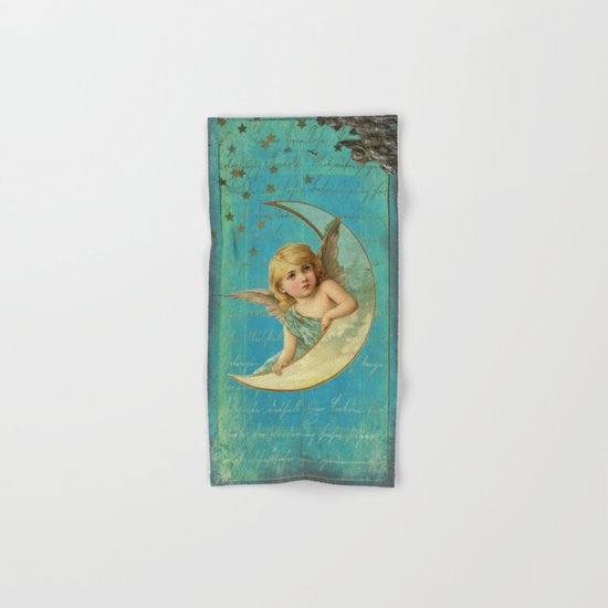 Vintage-Shabby-chic- Beautiful Christmas angel on aqua backround Hand & Bath Towel