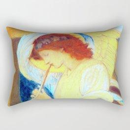 """Edward Burne-Jones """"An Angel Playing a Flageolet"""" (3) Rectangular Pillow"""