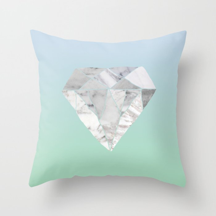 Light Blue Green Ombré Marble Diamond Throw Pillow