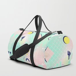 Summer cactus geometric Memphis inspired pattern Duffle Bag