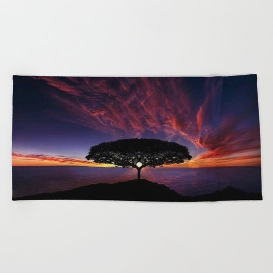 purple clouds Beach Towel