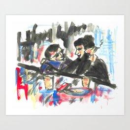 Les amoureux au bar.  Art Print