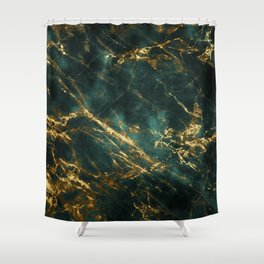 Lavish Velvety Green Marble With Ornate Gold Veins Shower Curtain