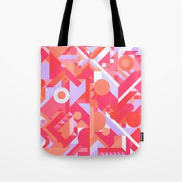 GEOMETRY SHAPES PATTERN PRINT (WARM RED LAVENDER COLOR SCHEME) Tote Bag