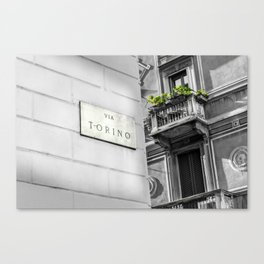 Via Torino signboard in the center of Milan Canvas Print