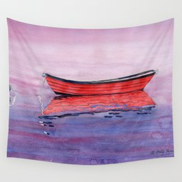 Red Dory Reflections Wall Tapestry