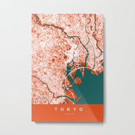 TOKYO Map - Japan | Tomato | More Colors, Review My Collections Metal Print