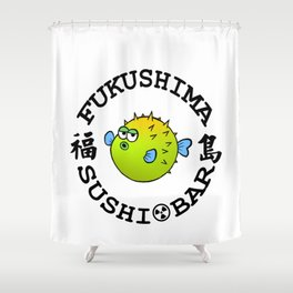 Sushi Bar (White/Black) Shower Curtain