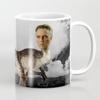 christopher walken Mugs featuring ChristopheRAPTOR Walken - Christopher Walken Velociraptor by Kalynn Burke