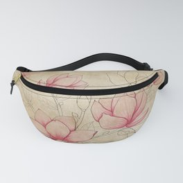 Vintage Shabby Pink Magnolia on Antique White Fanny Pack