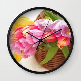 Tulip in a basket Wall Clock