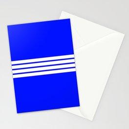 4 White Stripes on Blue Stationery Cards