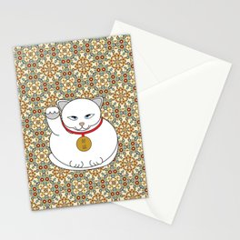 Paws Up For Lucky White Cat Stationery Cards