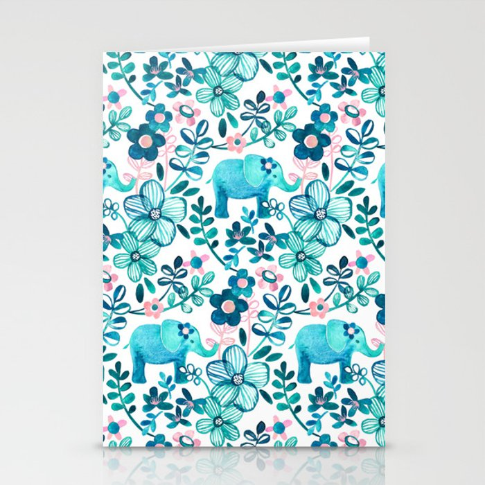 Dusty Pink, White and Teal Elephant and Floral Watercolor Pattern Stationery Cards
