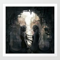 twins Art Prints featuring Twins by aStripedUnicorn