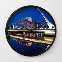 dublin Wall Clocks featuring Dublin Dockland's by Psphotographydublin