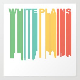 Retro 1970's Style White Plains New York Skyline Art Print