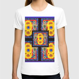 BLUE PEACOCK JEWELED SUNFLOWERS DECO ABSTRACT T-shirt