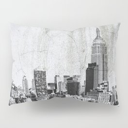 New York City Skyline Gray Texture Pillow Sham