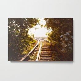 Railroad Tracks - Sunset - New York City Metal Print