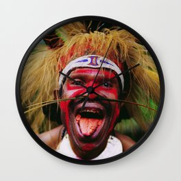 Eating a Betel Nut in Papua New Guinea Wall Clock